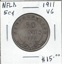 Canada 1911 Newfoundland NFLD 50 Cents Silver VG