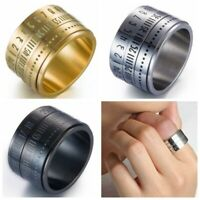 Rotatable Time Band Men Rings Number Clock Wide Size 7-12 Titanium Steel Gift aa