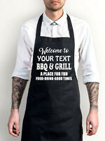 Personalised Welcome To BBQ & Grill Apron, Add Name Chef Essential Bib Apron