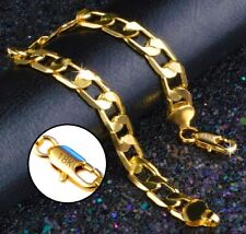 18k Yellow Gold Men's Stylish Wide Curb Link Chain Bracelet w Gift Pkg D9631