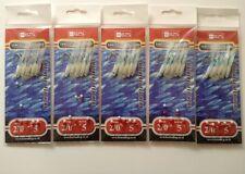 5 pacchetti di lumi Gamberetti PIUMA Hock Eye Piume Per Mackeral Bass Lures