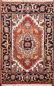 Geometric Traditional Oriental Area Rug Wool Hand-knotted Foyer Carpet 2x3 ft
