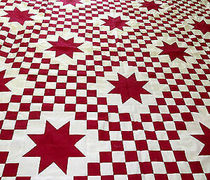 Red & White Triple Irish Chain Star - Very desireable - Best Seller Quilt Top