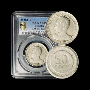 COLOMBIA, 1948/6, 50 Centavos - PCGS XF45 - 8 over 6 OVD