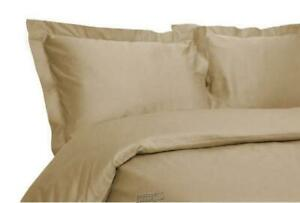 """400 Thread Count Hemstitch Solid Duvet Set Fawn Gold King 75""""x80"""""""
