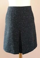 HOBBS NW3 SIZE 8 WOOL & SILK BLEND NAVY BLUE TWEED STYLE BOX PLEAT A LINE SKIRT