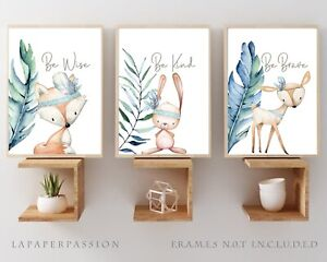 Woodland Animal Nursery Wall Prints,Boys wall prints,Woodland Decor,