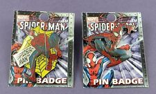 Pair of Marvel Ultimate Spiderman Badges 2002 - Mint on Card