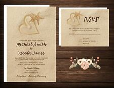 Wedding Invitations Beach Desitnation Sand Heart 50 Invitations & RSVP Cards