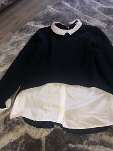 Zara Ladies Jumper Shirt Navy And White Size Small