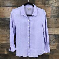 J. Jill Women's Purple 100% Linen Long sleeve Button Up Shirt Size Small Petite