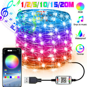 Christmas Tree Decor RGB LED String Lights Smart bluetooth App Remote Control