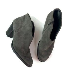 Paul Green Womens Gray Suede Ankle Boot Booties Block Heel Almond Toe UK 8 US 10