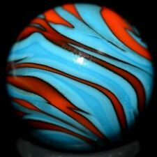 """BARRIER HANDMADE GLASS MARBLE/.737""""-BARRIER SUPERBOY-SHOOTER-TURQUOISE,TOMATO"""