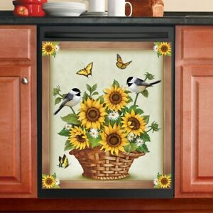 Beautiful Sunflower Filled Basket and Birds Kitchen Dishwasher Cover Magnet