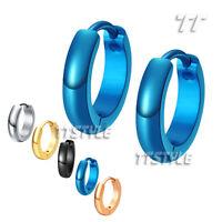 TT S.Steel Rounded Hoop Earrings Mens&Womens Width 2-7mm Size 10-20mm  (EH02)