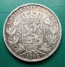 More details for 1868 belgium 5 francs silver coin #070