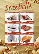 Liberia 2015 neuf sans charnière coquillages 6v m/s sea shells trompette escargot shell kauri timbres