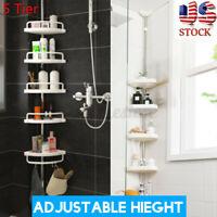 5 Tier Metal Shower Corner Pole Caddy Shelf Rack Organizer Bathroom Bath Storage