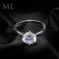 Womens Solitaire Engagement RING 2 CT Carat ROUND CUT White Gold Plated SIZE 5-9