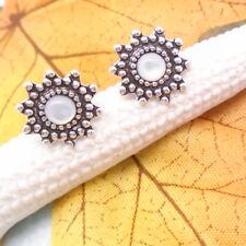 Perlmutt weiß rund Stern Blüte Design Ohrstecker Ohrringe 925 Sterling Silber