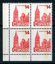 CANADA 1978 14 C Rouge, bloc de 4. déplacée phosphore, un bar Tag erreur neuf sans charnière