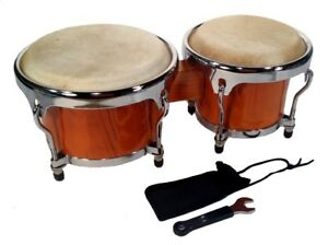 "Zenison - BONGO DRUMS 8+9"" SET, NATURAL WOOD Dual Bongos WORLD LATIN Percussion"