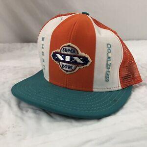 Vtg Miami Dolphins Super Bowl 19 Display Only Hat Trucker Snapback Cap XIX