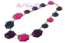 Unusual Colour Block Pop Pink Purple Teal Blue Geometric Heptagon Gold Necklace