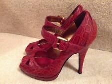 4bd07b573f ROBERTO CAVALLI RED CROC ANKLE STRAP SHOES...UK 4 EU 37