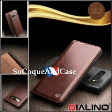 Etui coque Housse 100% Cuir Genuine Leather Wallet Case Samsung Galaxy S10, S10+