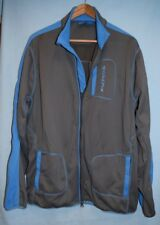 Reebok Mens Sz L Athletic Track Top Jacket Full Zip Gray Blue Full Zip Spell Out