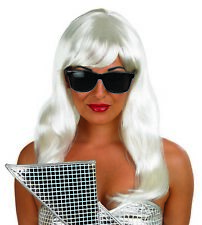 Blonde Pop Diva Wig Sunglasses 70s 80s Pop Star Fancy Dress Costume Lady Gaga