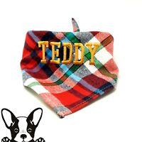 Personalised Handmade Embroidered Dog Bandana Neckerchief Red Check Tartan