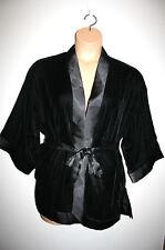 NEW Womens MAX STUDIO Velvet Velour Solid Black Short Robe Medium M NWT $98