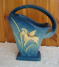 """Antique Roseville USA Pottery Zephyr Lily Bermuda Blue 394-8"""" Handled Basket"""