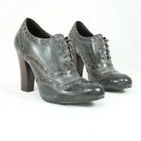 Ash Women's UK 5 EU 38 Grey Green Leather High Heel Brogue Lace Up Shoes