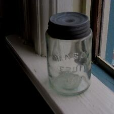 Antique Light Aqua Glass Pint Mason Fruit Jar & Zinc Lid