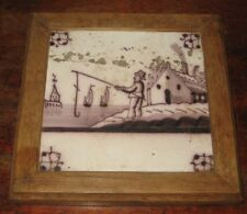 CHARMING ANTIQUE DELFT MANGANESE TILE MAN FISHING WITH LARGE HOOK +