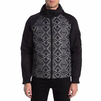 Pendleton Mens Black Diamond Southwestern Print Hooded Down Bomber Jacket Size S