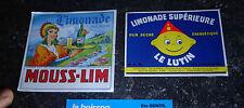 Ancienne Etiquette Bouteille de Limonade Le Lutin & Mouss-Lim