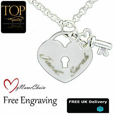 Lock & Key Love Heart Personalised Necklace Any Names Engraved Silver Jewellery