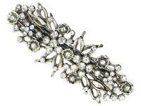 Antique Vintage Silver Floral Crystal Barrette Bridal Hair Clip Slide Grip
