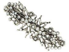 Vintage Silver Floral Crystal Barrette Bridal Hair Clip Slide Grip Victorian