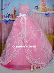 Barbie QUINCEANERA BIRTHDAY PINK MODEL MUSE BALL GOWN w Pearl White Heels_New