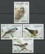 """No: 72805 - CAMBODIA - """"BIRDS"""" - LOT OF 4 OLD STAMPS - USED!!"""
