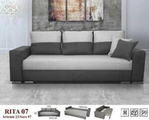 BRAND NEW RITA SOFA BED Fabric Beige/Brown, Beige, Black, Grey/Dark Grey, Grey