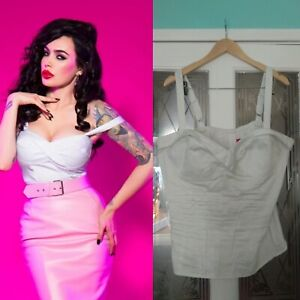 PUG Pinup girl Deadly Dames white vamp top, 3XL, vtg, vintage, rockabilly