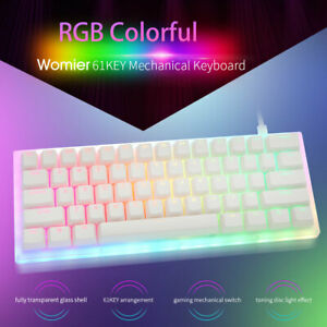 Womier K61 60% Mini Gaming Mechanical Keyboard RGB Rainbow Backlit Base Hot Swap