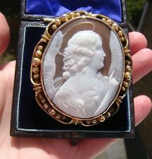 Antique Shell Cameo & 15ct Gold Frame of Angel